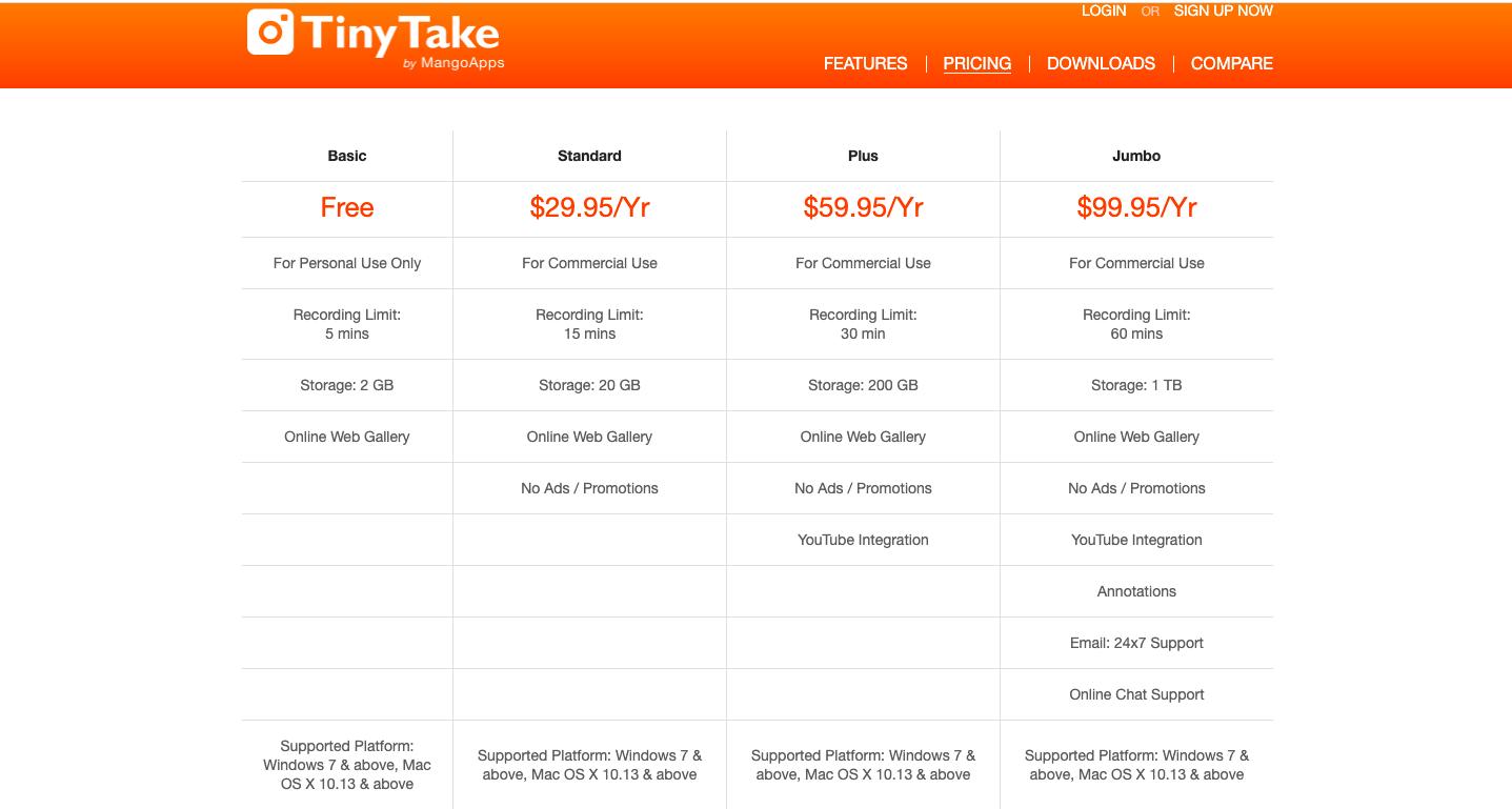 TinyTake Screen Recorder Pricing