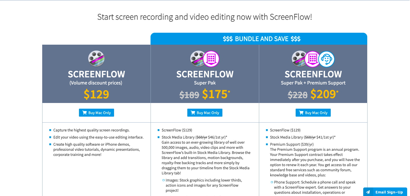 Loom screencast software pricing page