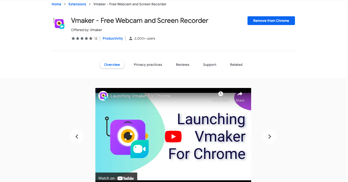 Vmaker screen and webcam recorder chrome extension from Animaker Inc