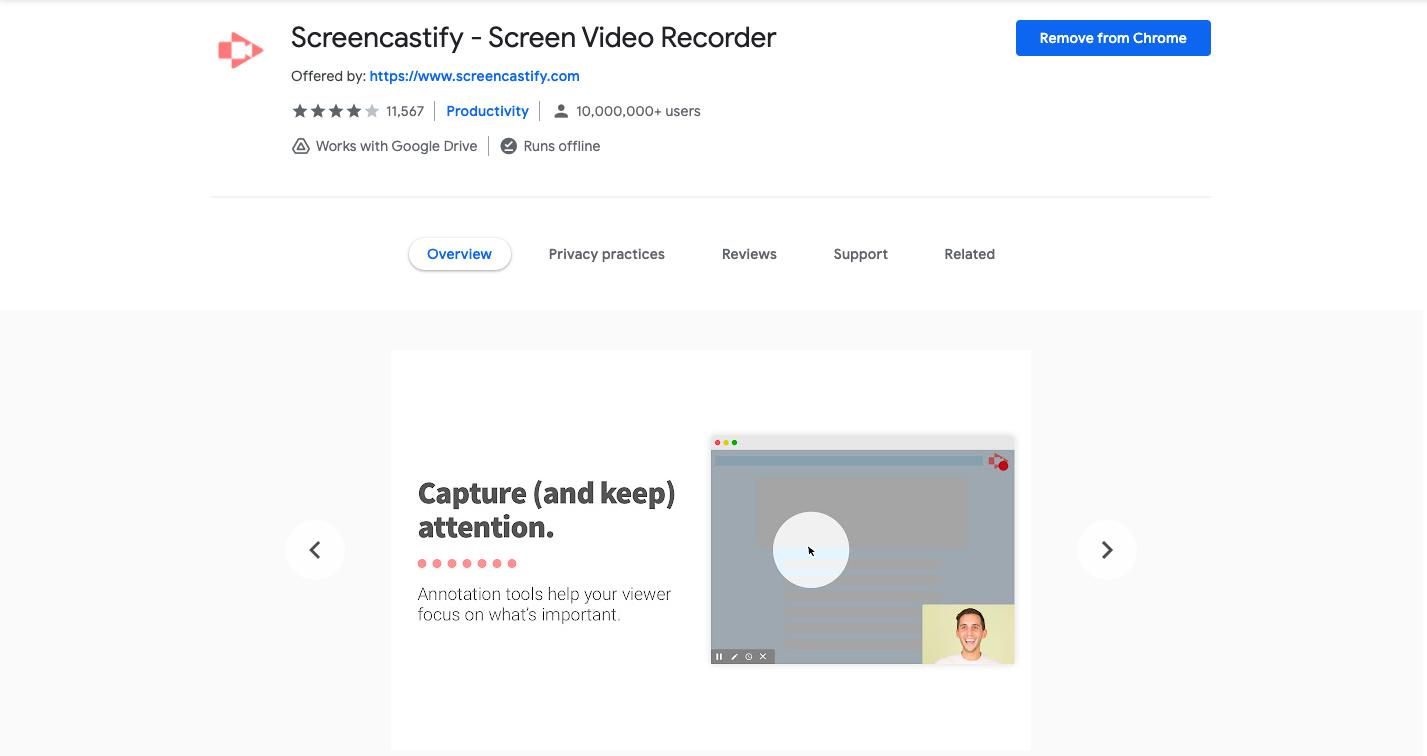 Screencastify screen recorder chrome extension