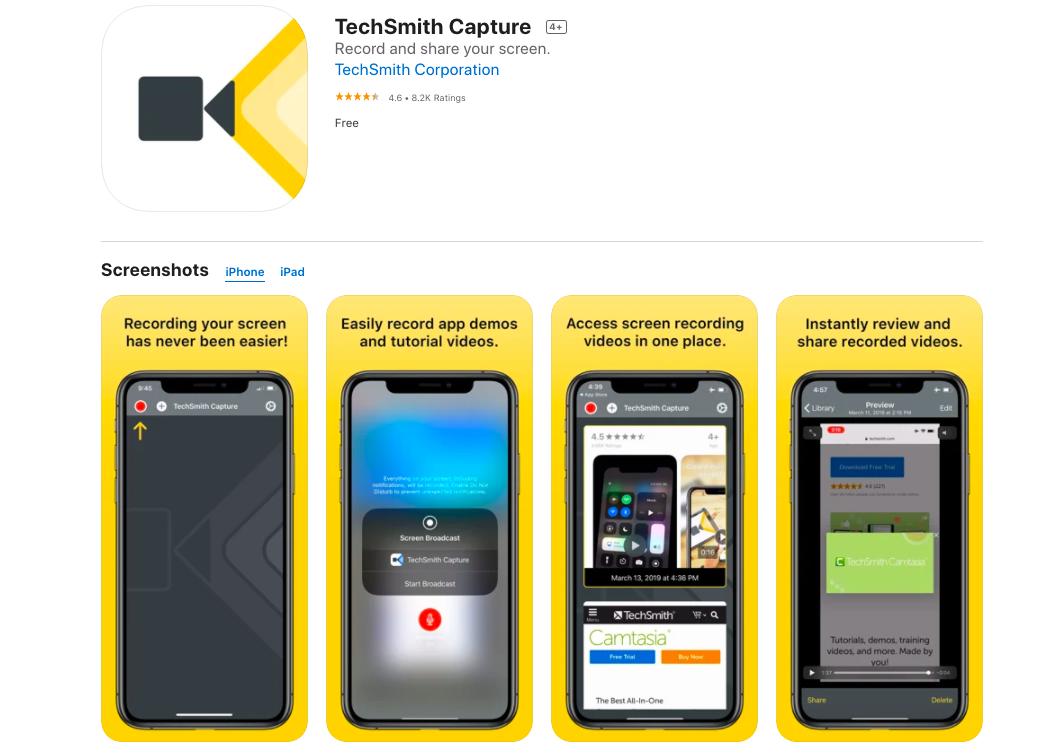 TechSmith screen recorder for iphone