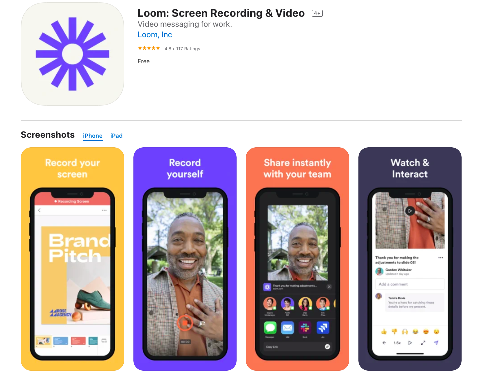 Loom screen recorder for iphone