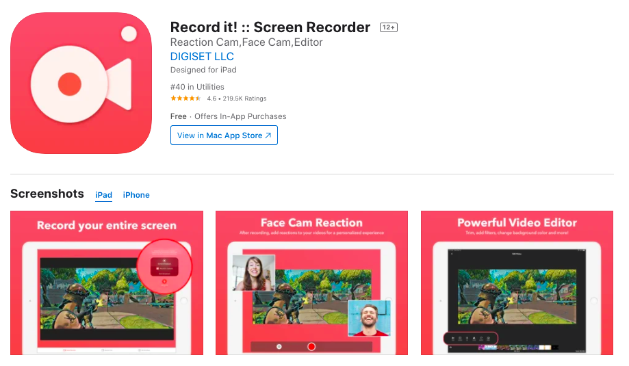 Record it screen recorder for Iphone