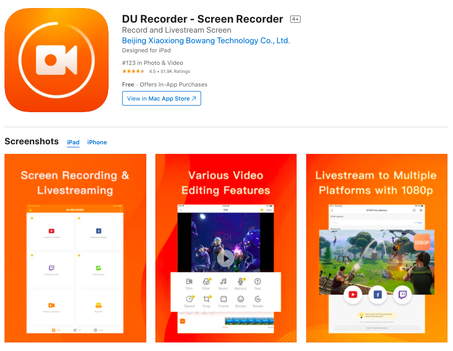 DU screen recorder for iPhone
