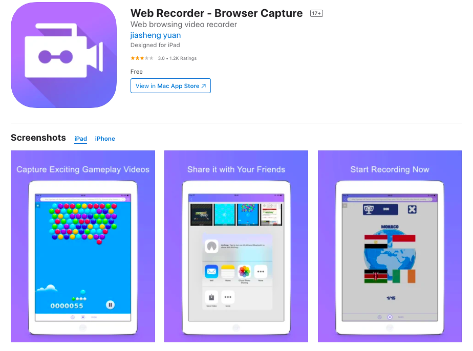 Web recorder screen recorder for iPhone