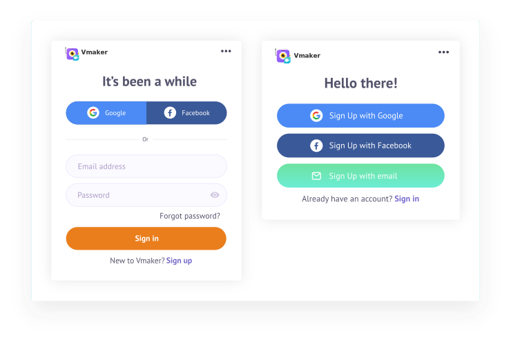 Sign up for Vmaker if it's your first time or Sign in if you have an account already