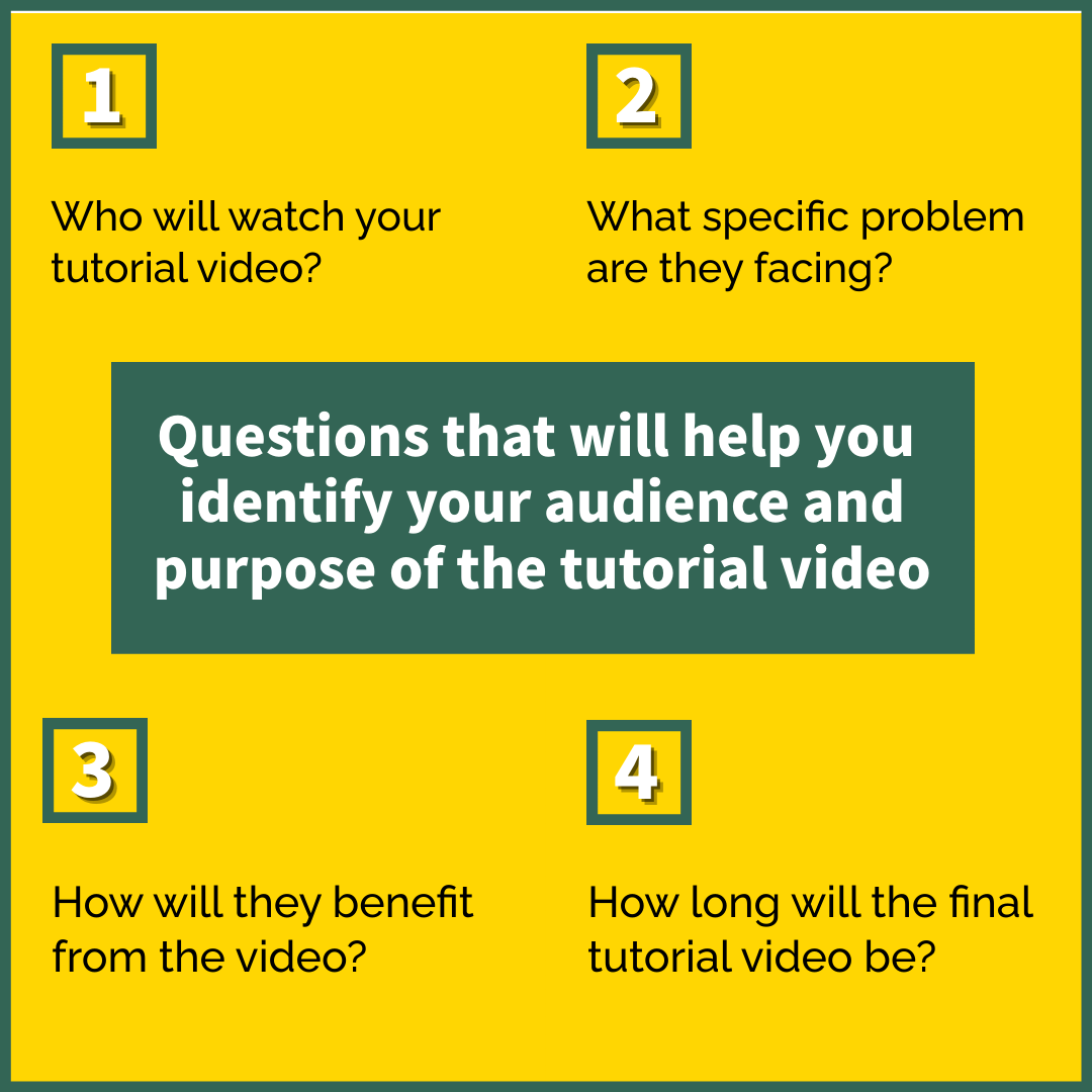 Questions to identify audience and purpose of the tutorial video
