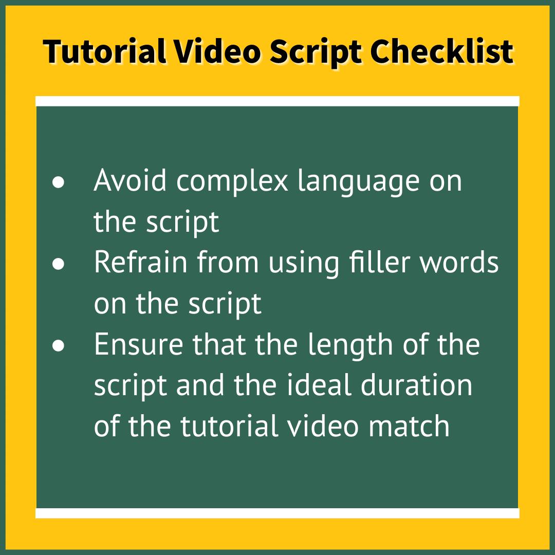 Tutorial video script checklist