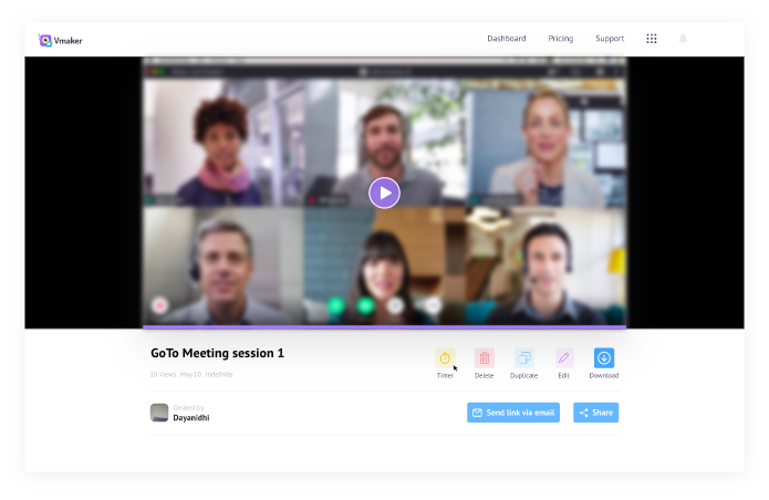 Click on the video to play your Go to meeting recording