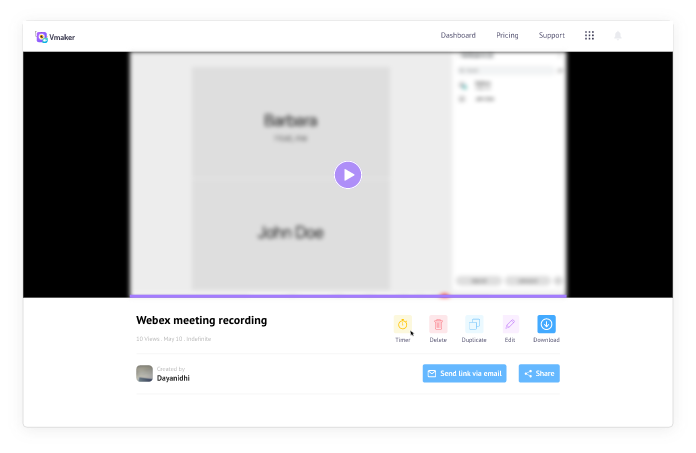 Click on the video to play your Webex recording